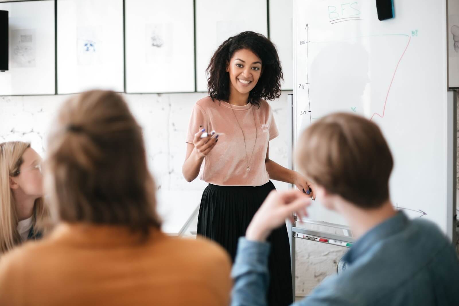 Woman standing at whiteboard doing pitch presentation